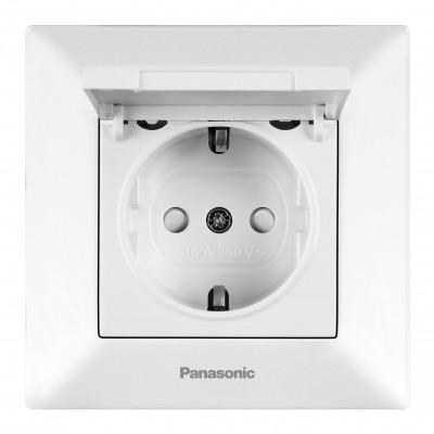 Розетка Panasonic Arkedia WMTC02102WH-RES одноместная белая с крышкой