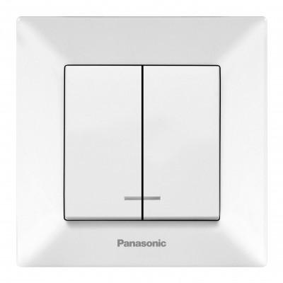 Выключатель Panasonic Arkedia WMTC00102WH-RES двухклавишный с подсветкой белый
