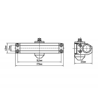 Доводчик дверной Palladium 1025 D серебро 15-25 кг