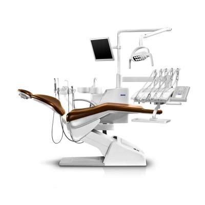 Стоматологическая установка Siger U200 верхняя подача, под вакуумную помпу, цвет мандариновый