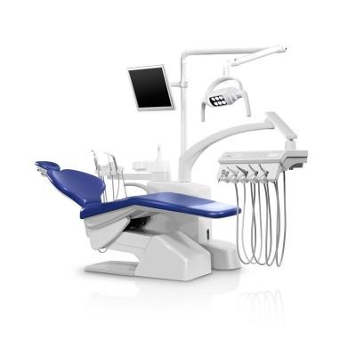 Стоматологическая установка Siger S30 верхняя подача, под вакуумную помпу, цвет искристый красный