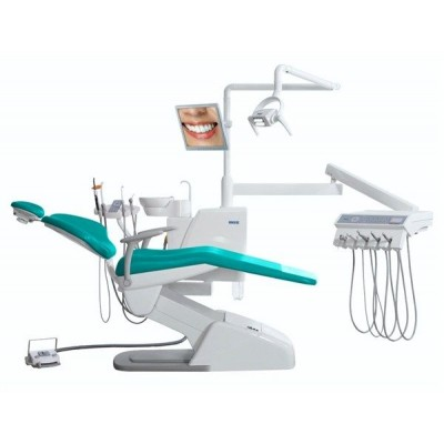 Стоматологическая установка Siger U100 верхняя подача, под вакуумную помпу, цвет салатовый перламутр