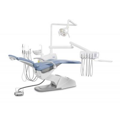 Стоматологическая установка Siger U100 верхняя подача, под вакуумную помпу, цвет мандариновый