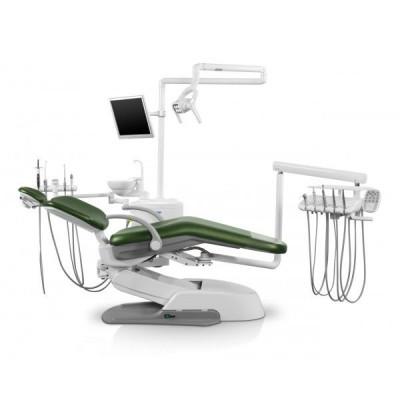 Стоматологическая установка Siger U500 верхняя подача, эжекторного типа, цвет искристый красный